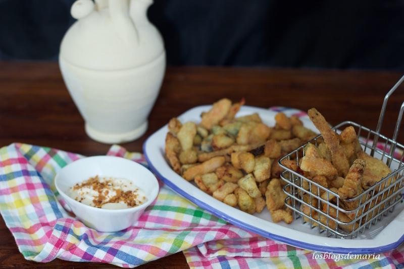 Verduras en tempura de Maheso con mahonesa al ajo frito