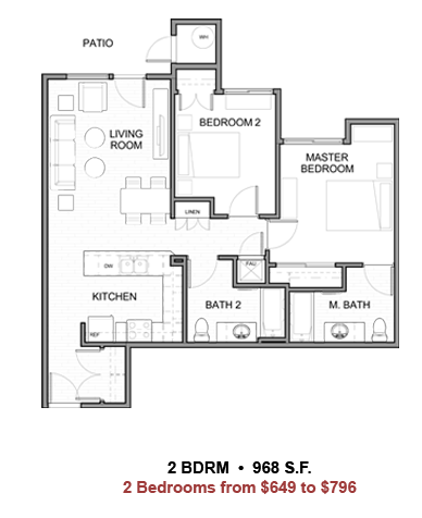 Coral Mountain Apartments La Quinta: Floor plan 2 of the