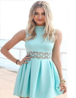 vestido azul agua marina juvenil tumblr de verano