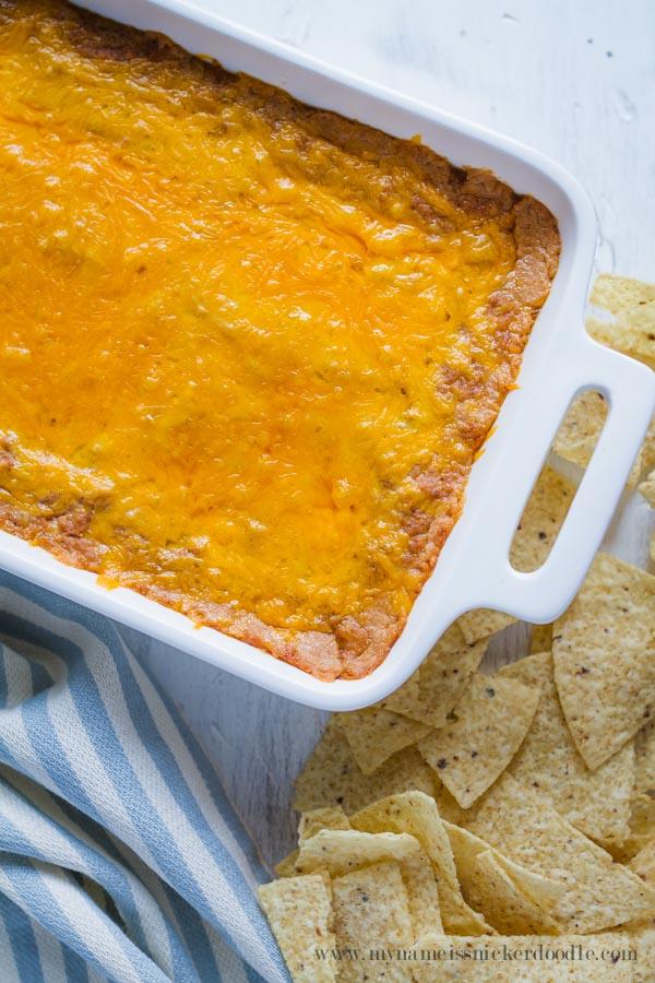 THE BEST Cheesy Bean Dip Recipe!     mynameissnickerdoodle.com