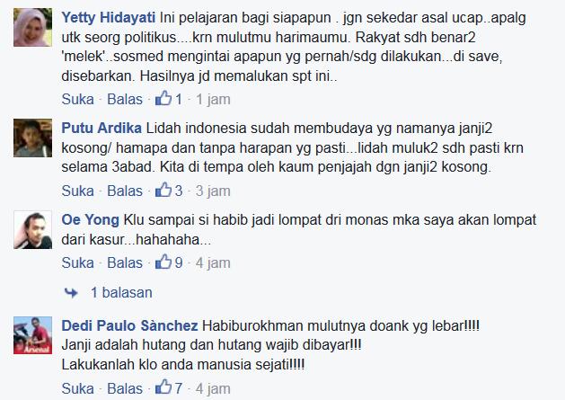 Ramai : Inilah Tanggapan Pedas Para Netizen Akan Janji Habiburokhman Yang Mau Terjun dari Monas