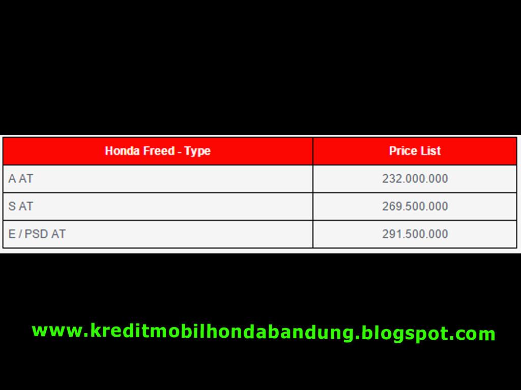harga mobil honda freed bandung, honda freed bandung, kredit freed