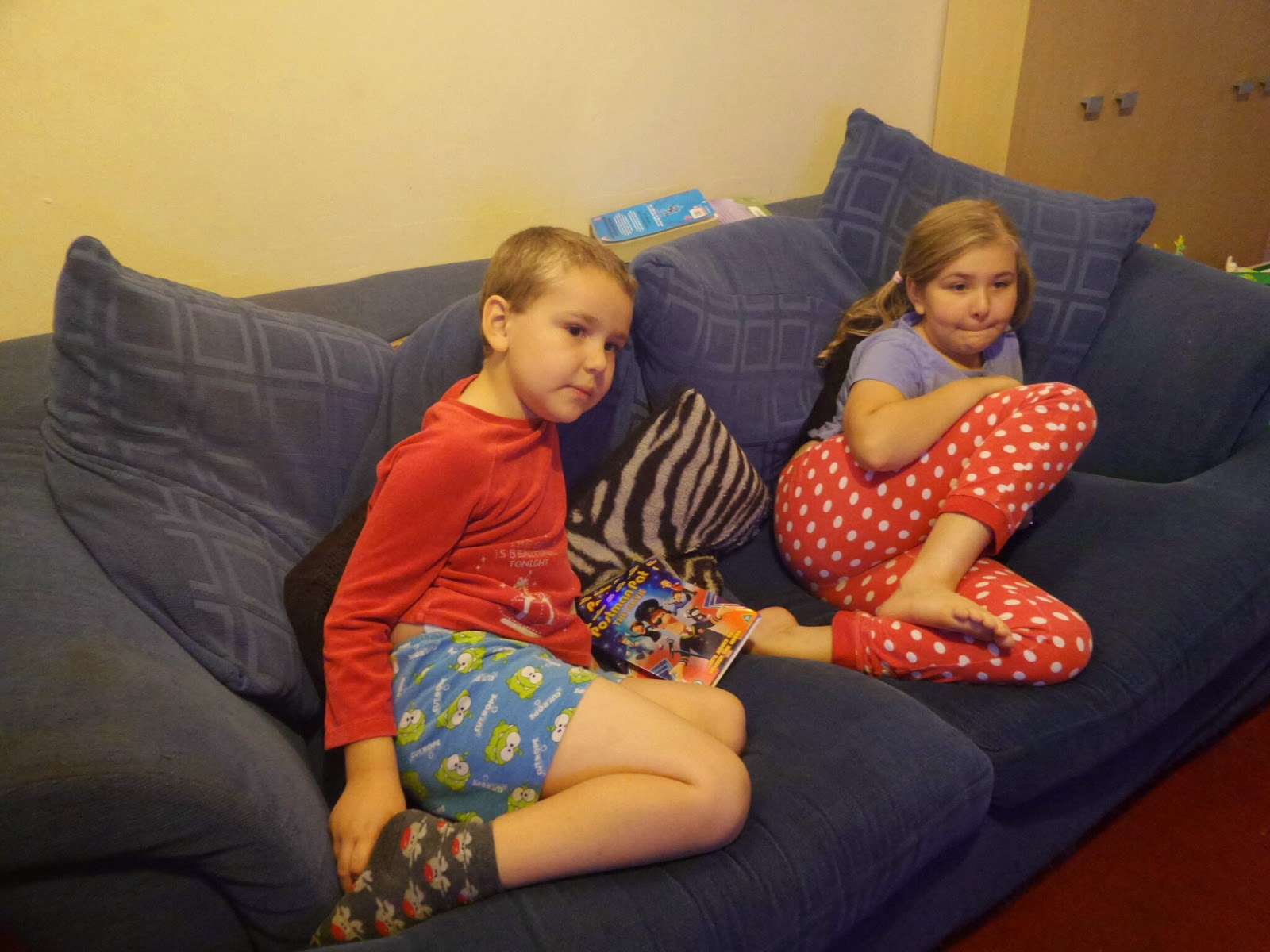 The children watching Postman Pat The Movie DVD