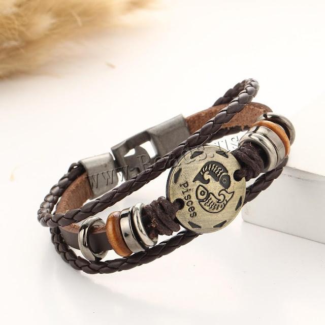 Zodiac Horoscope Leather Constellations Bracelet