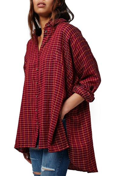 Topshop Oversized Check Boyfriend Shirt