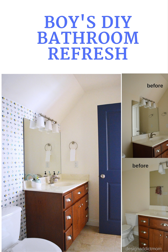 A Bathroom Update with Removable Wallpaper and Paint