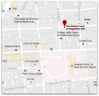 Mapa com a Localização da Escadaria da Rua General Couto de Magalhães, Porto Alegre (Mapa)