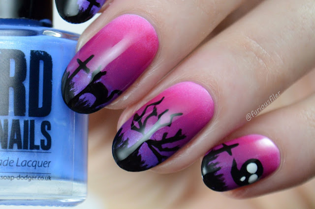 Halloween scary cementary grave twilight ghost nails trees