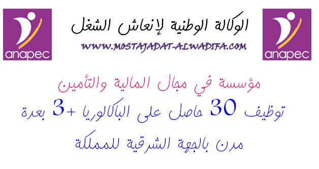 مؤسسة في مجال المالية والتأمين  توظيف 30 حاصل على الباكالوريا +3 بعدة مدن بالجهة الشرقية للمملكة