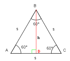 how to find the hypotenuse of an equilateral triangle