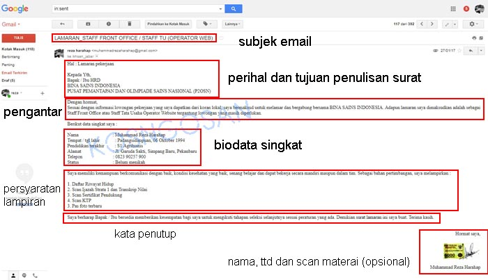 contoh body email