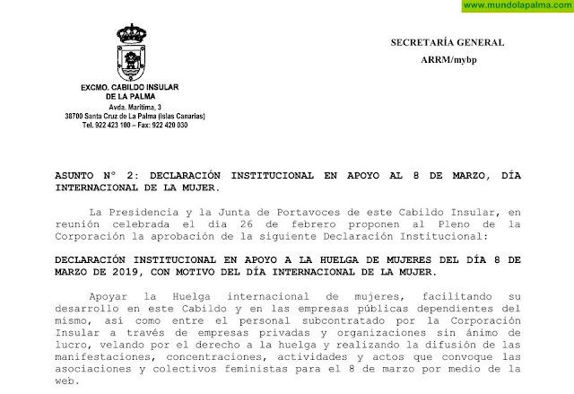 El Cabildo de La Palma apoya la huelga del Día Internacional de la Mujer