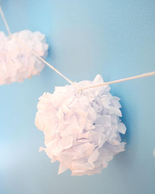 tissue pom pom garland