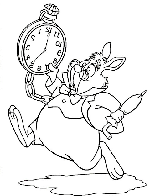 Alice In Wonderland White Rabbit Run And Panic Coloring Pages For Kids   Printable Alice In Wonderland Coloring Pages For Kids