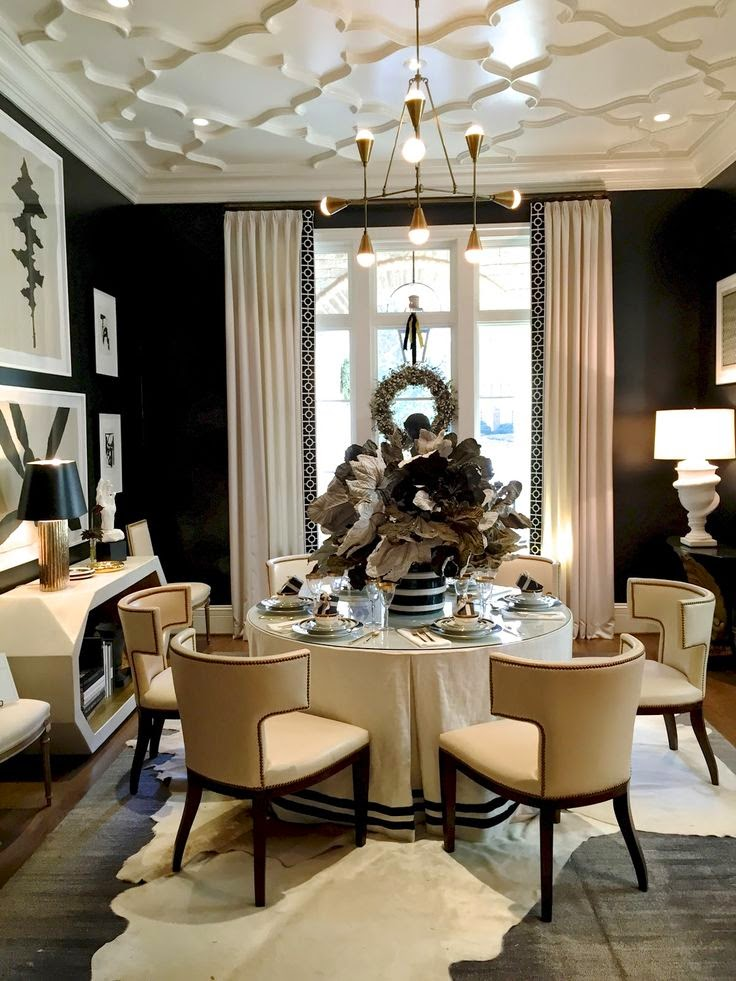 Eye For Design: Decorate With Round, Skirted, Dining Room ... on Dining Table Ceiling Design  id=15034