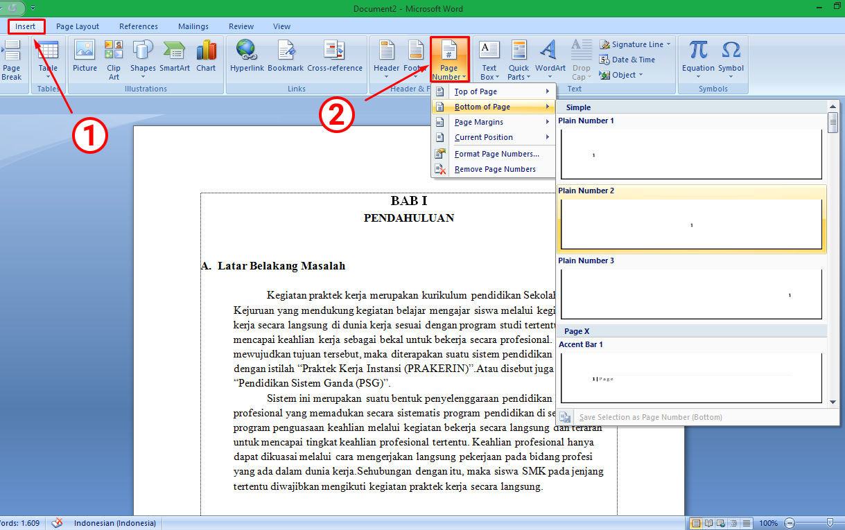 Cara Membuat Nomor Halaman Page Number Di Ms Word Espada Blog