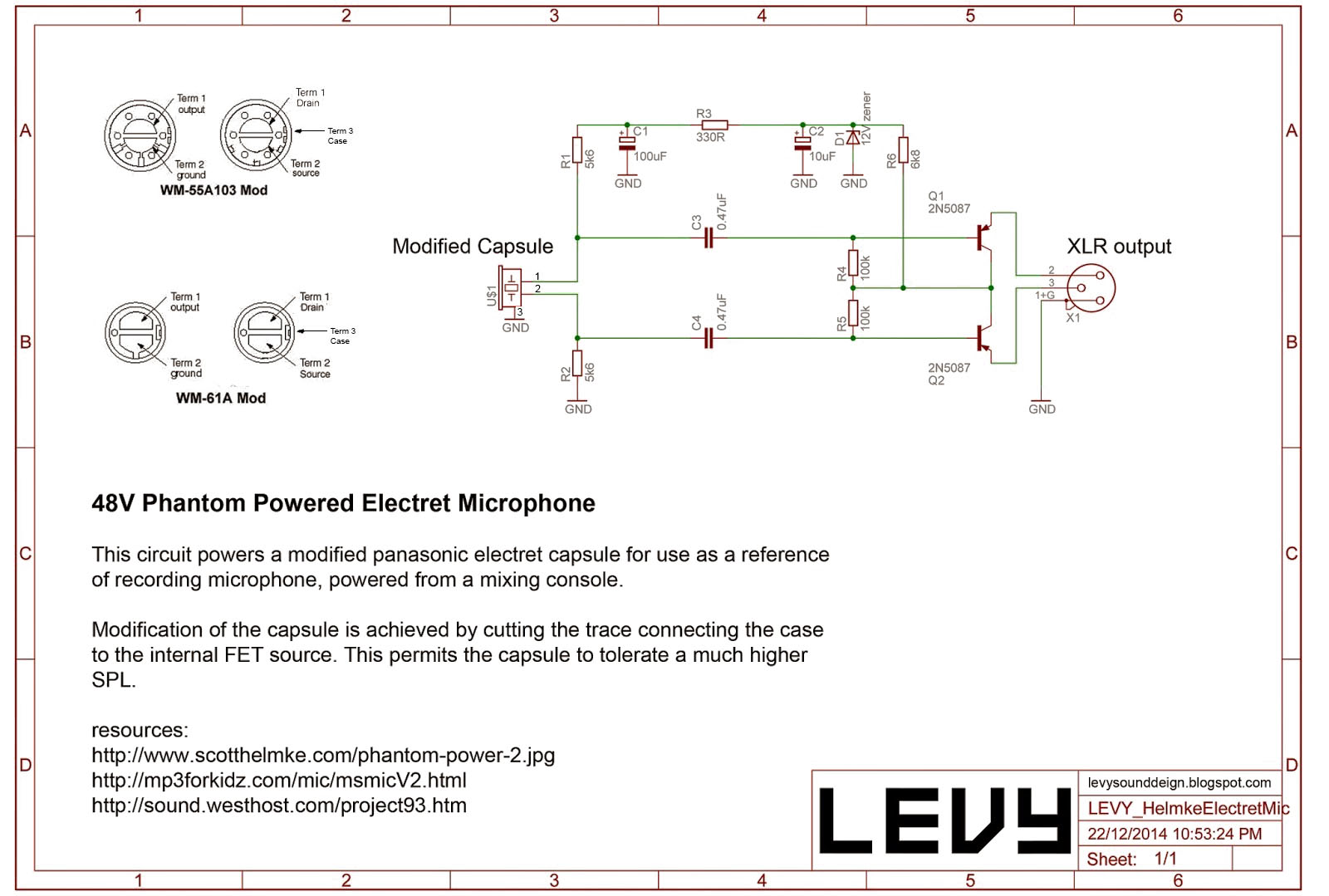 Inside Condenser Electret Microphone Circuit Everything About Circuitdiagram Amplifiercircuit Ultrasonictransducerdrivecircuit Levy Sound Design 48v Phantom Powered Rh Levysounddesign Blogspot Com Diagram