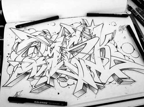 50 Gambar Graffiti Di Kertas Keren Nama Huruf Dan 3d Simple