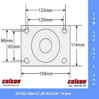 kích thước Bánh xe PU xoay khóa chịu lực 680kg càng Impak Colson | 6-8279-939BRK1 dùng ổ đũa www.banhxeday.xyz