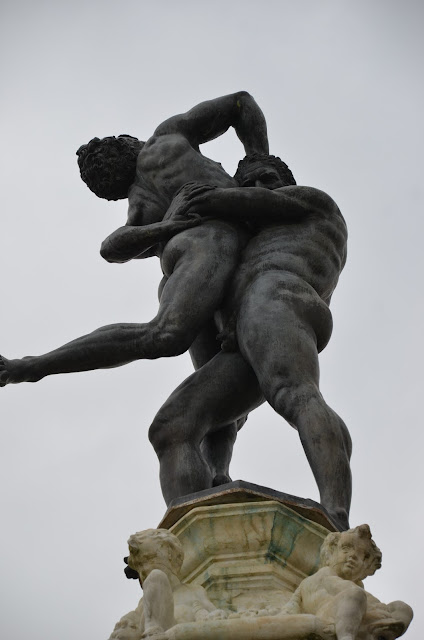 The figures of Hercules and Antaeus designed by Niccolò Tribolo