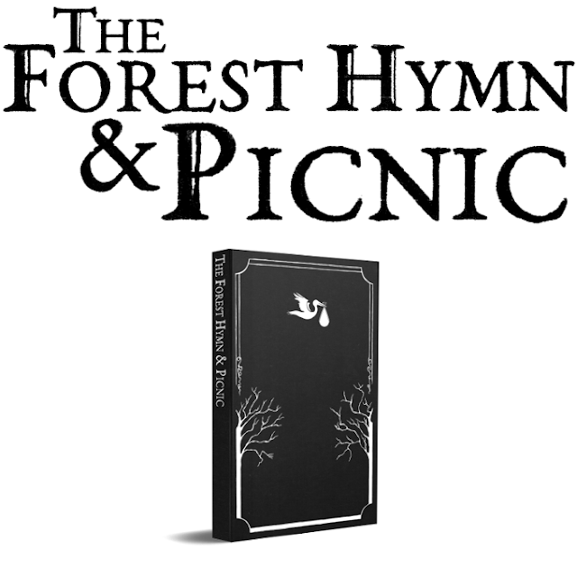 The text The Forest Hymn & Picnic and an image of the book with black cover, then a stork carrying a bundle and some trees.