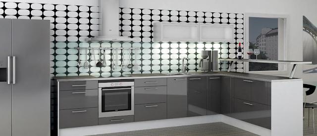 cocina-gris-con-pared-cuadros