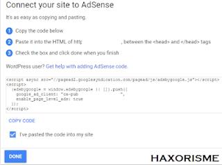 Kode Pendaftaran Google AdSense Non Hosted