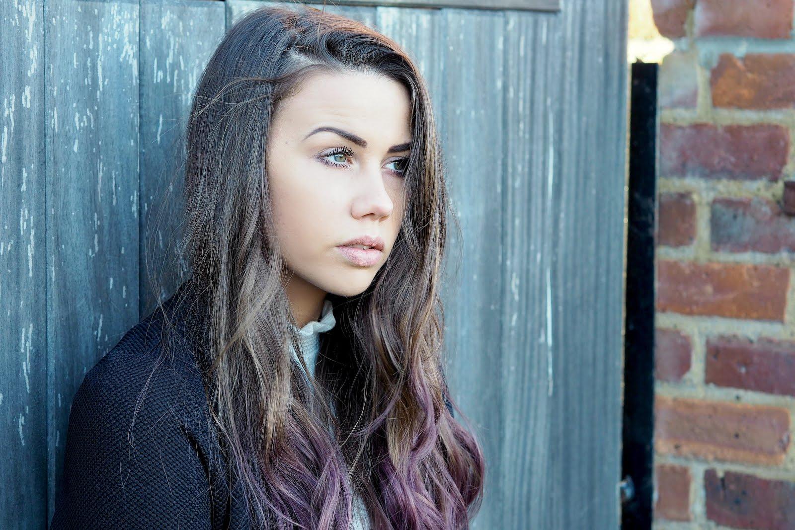 purple ombre brunette hair, copper garden