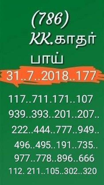 kerala lottery guessing abc sthree sakthi SS-117 on 31.07.2018
