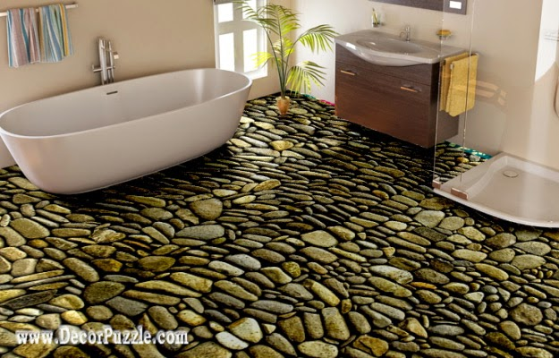 modern 3d bathroom floor murals designs, stone floors for bathroom flooring ideas