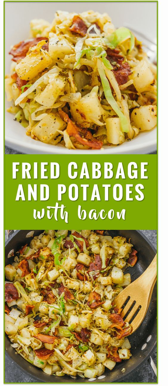 This is a really easy fried cabbage and potatoes recipe with crispy bacon. Only six ingredients and one pan needed.
