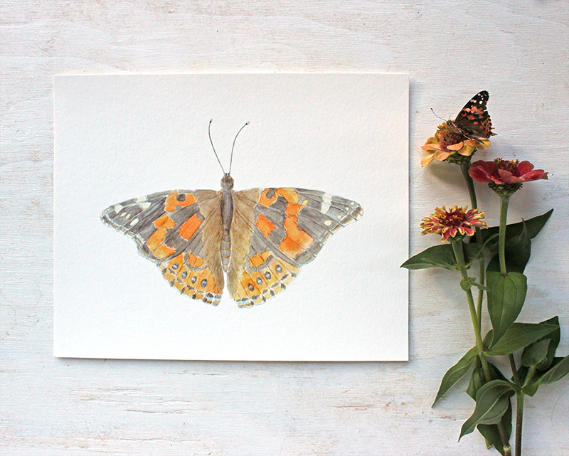 Painted Lady Butterfly Watercolor Print