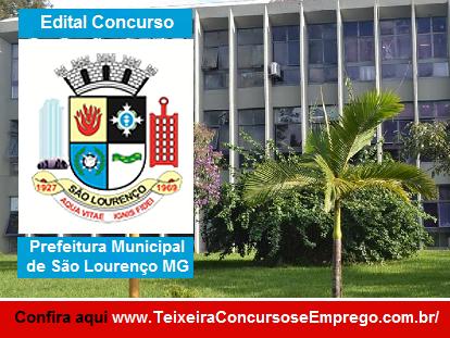 Concurso Prefeitura de São Lourenço MG - Edital 2016