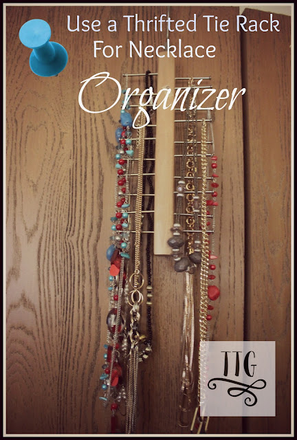 The perfect necklace organizer is a simple thrifted tie rack. No painting or buying extra items to create a necklace holder.