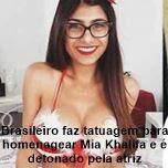 Brasileiro faz tatuagem para homenagear Mia Khalifa e é detonado pela atriz