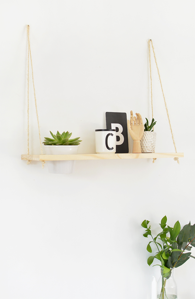 easy DIY rope plant shelf