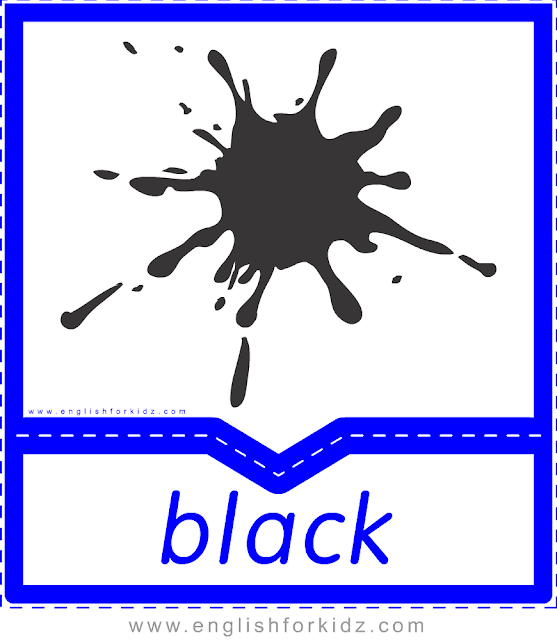 Printable colors flashcards - black - ESL printables