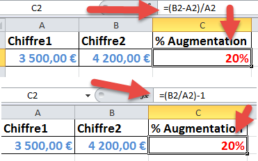 Calculer taux d'augmentation