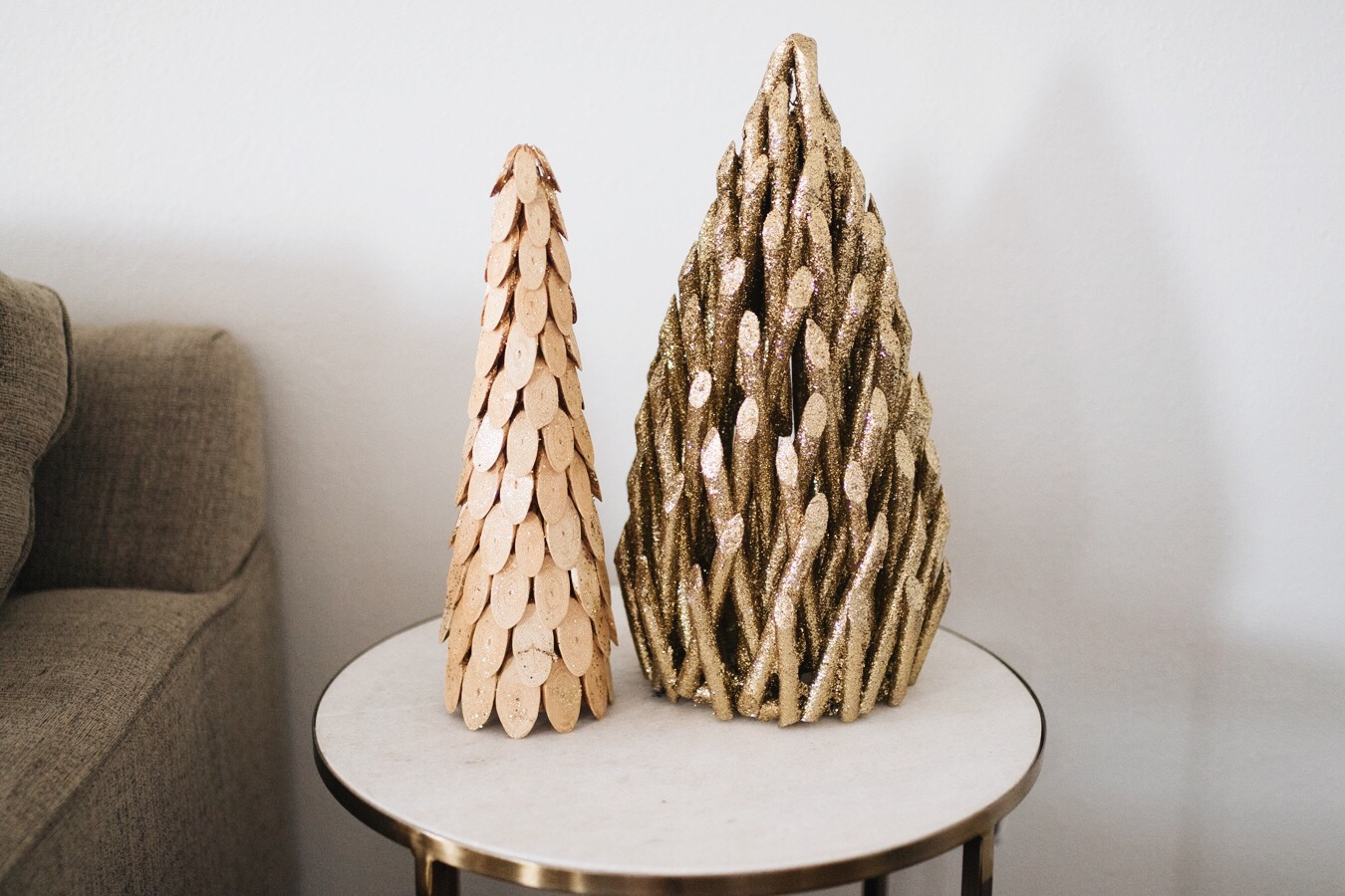 wood and gold christmas trees