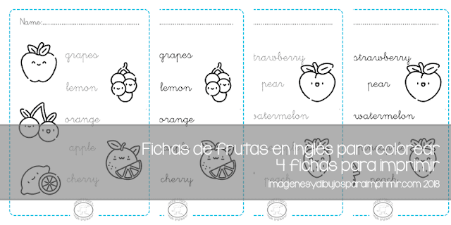 fichas de frutas en inglés para colorear