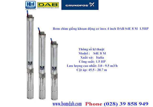 Bơm chìm giếng khoan động cơ inox 4 inch DAB S4E 8 M  1.5HP
