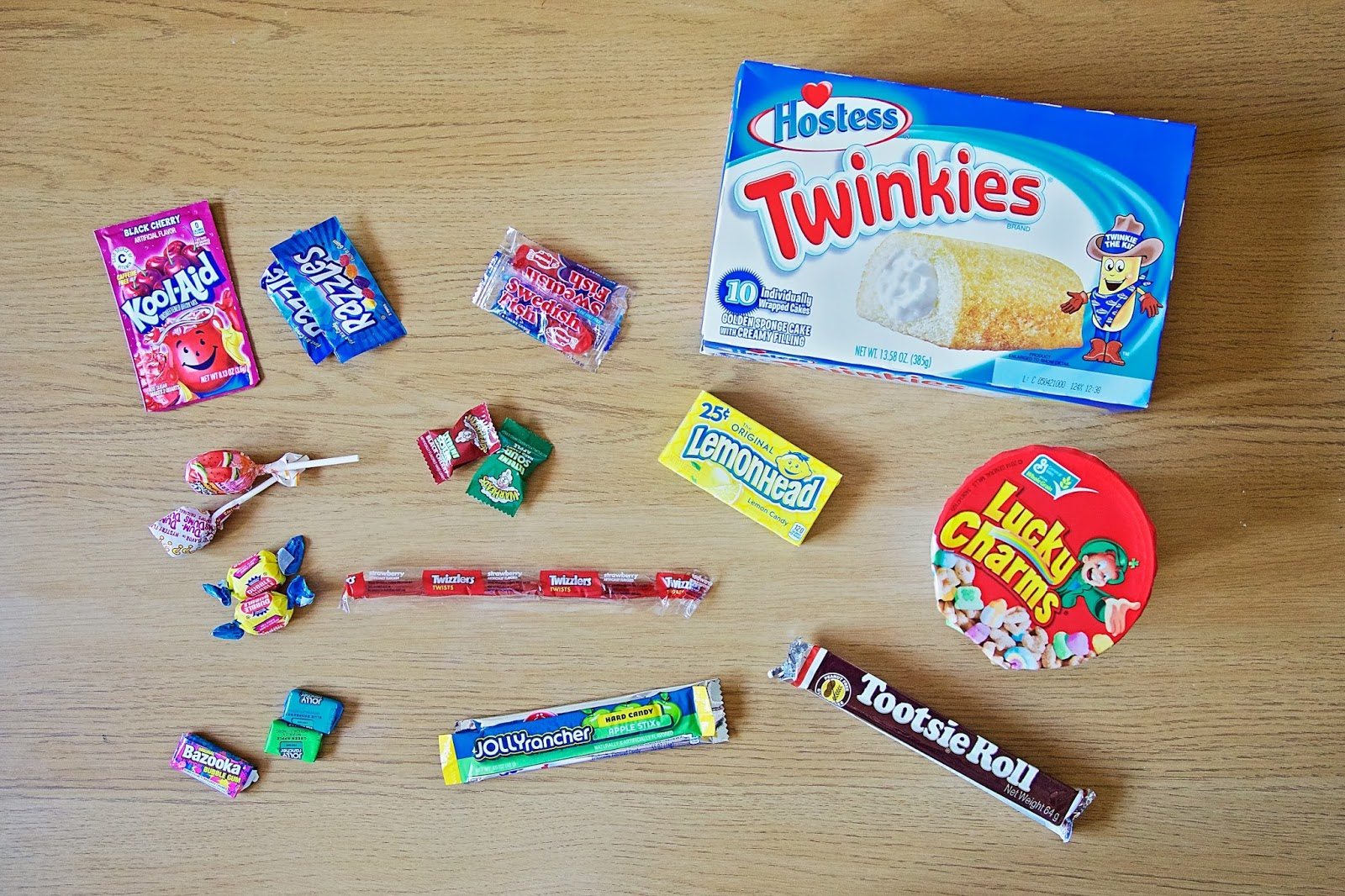 American candy spread out on the table