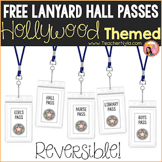 Free printable Hollywood themed Hall Passes