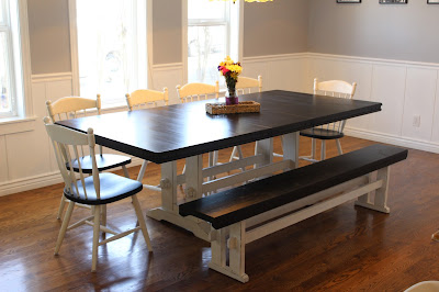 DIY Farmhouse table with bench