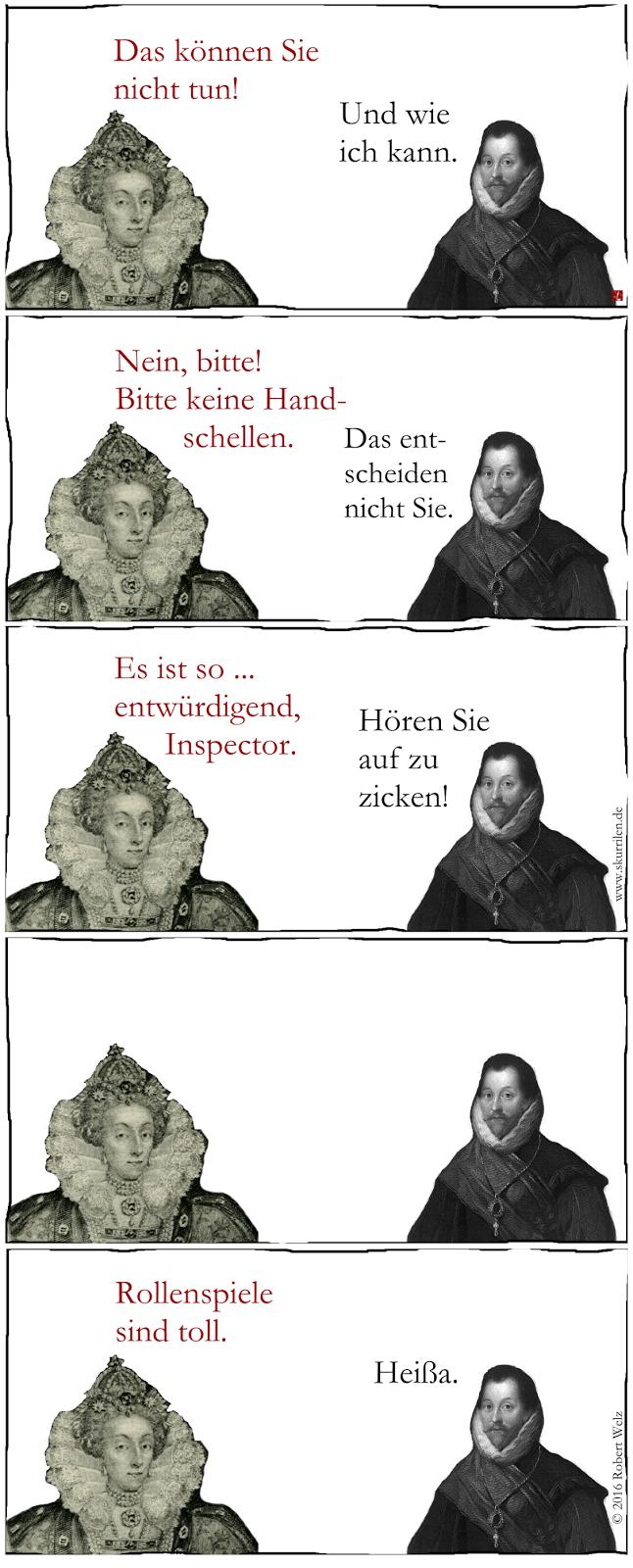 Liebe im England des 16. Jahrhunderts. Queen Elisabeth I. und ihr Pirat Sir Francis Drake gönnen sich gelegentlich kleine Fluchten aus dem Alltag.