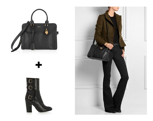 Черные классические сумка и сапоги с джинсами клеш и косухой