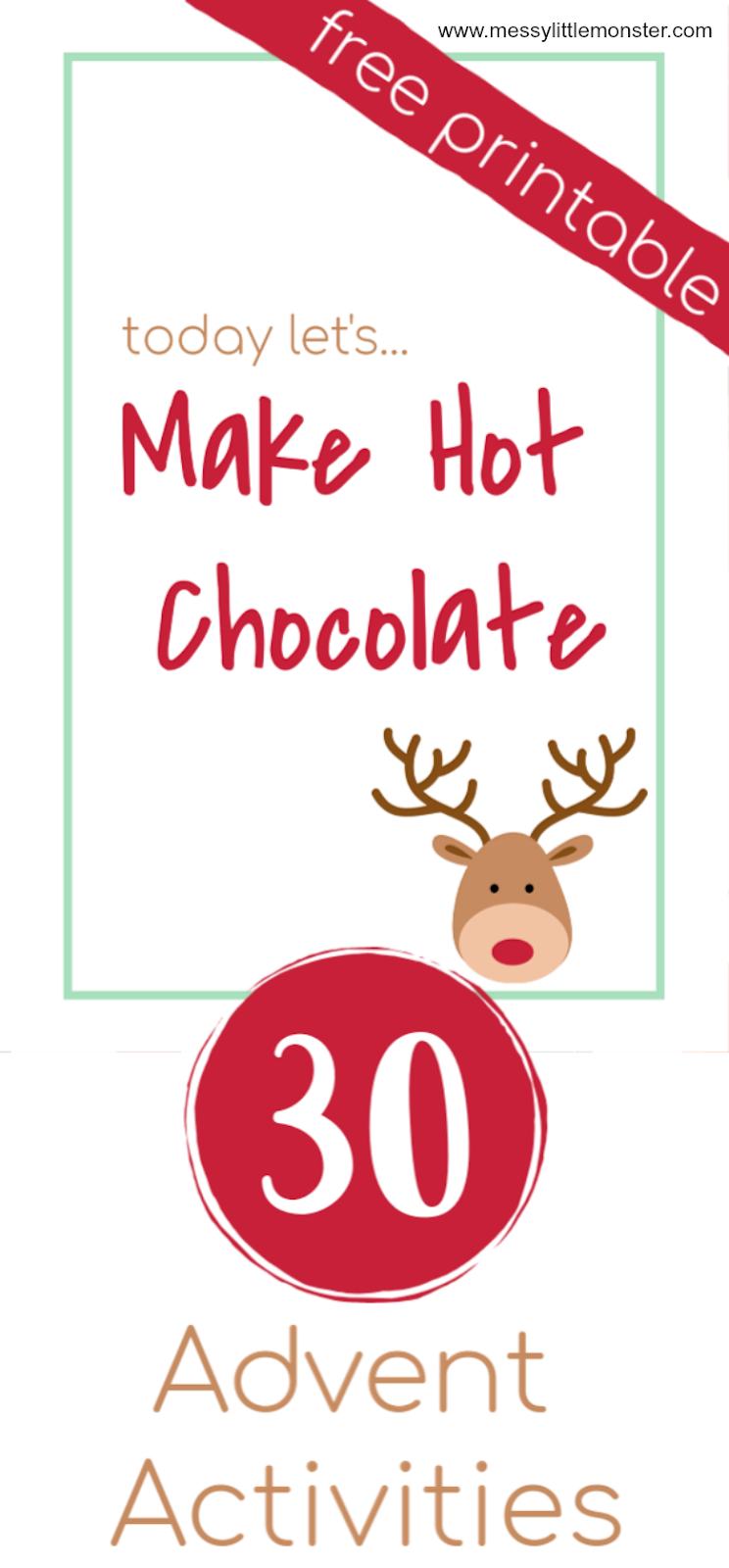Free printable advent calendar ideas. 30 fun advent calendar activities. Christmas activities for kids.