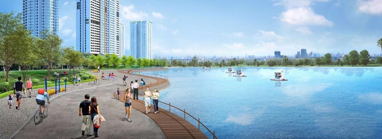 Hệ thống hồ điều hòa rộng lớn tại Vinhomes Sky Lake Phạm Hùng