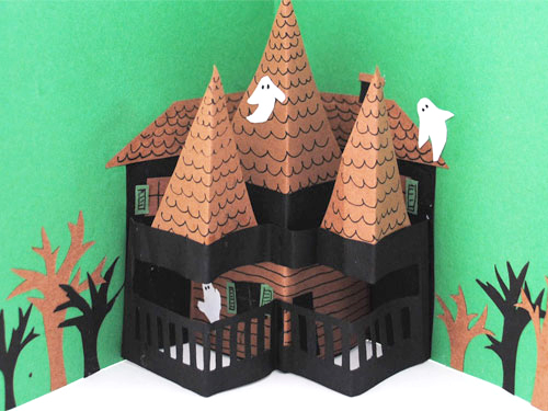 pop up haunted house halloween card