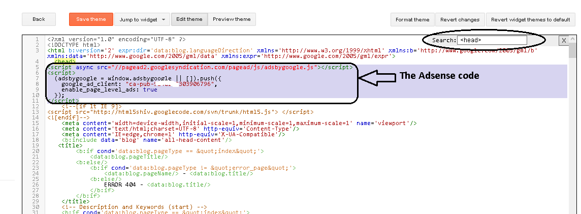 How to save Adsense verification code in blogger HTML template ...